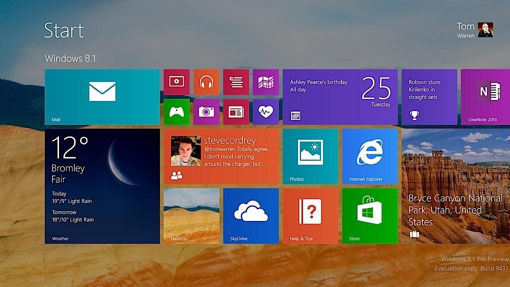 Windows 8.1 Startscreen